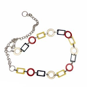 Silver Chain Belt Red Blue Yellow Shapes
